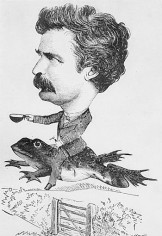 Cartoon depicting Mark Twain riding his famous Jumping Frog The Celebrated Jumping Frog of Calaveras County by Mark Twain Trail Post 1850